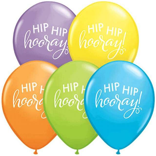 "Balon ""Hip Hip Hooray"", mix, Qualatex, 11"", 25 szt"