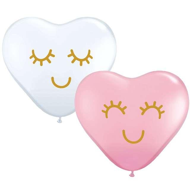 """Balony """"Uśmiechnięte serduszka"""", mix, Qualatex, 11"""", 25 szt"""