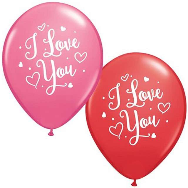 "Balony ""I Love You"", mix, Qualatex, 11"", 25 szt"