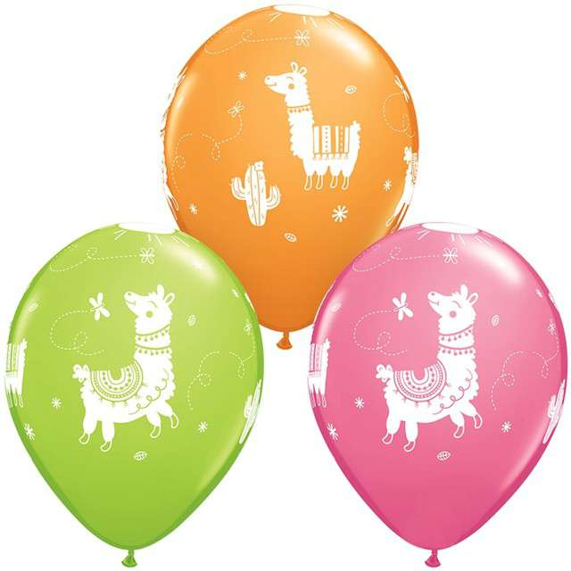 "Balony ""Lama"", mix, Qualatex, 11"", 25 szt"