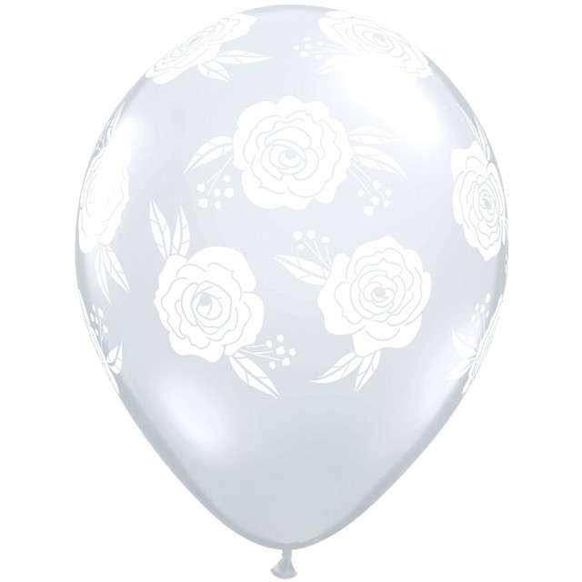 """Balon """"RÓŻA"""", transparentny, Qualatex. 25 szt."""