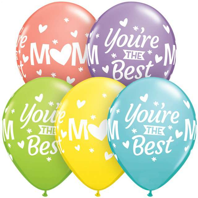 "Balony ""Mom Youre The Best,"", mix, Qualatex, 11"", 25 szt"