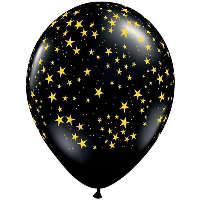 """Balony """"Złote gwiazdki"""", czarne, Qualatex, 11"""", 25 szt"""