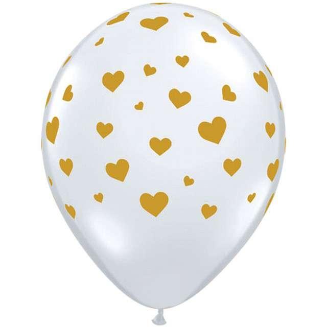 """Balony """"Złote serduszka"""",transparentne, Qualatex, 11"""", 25 szt"""