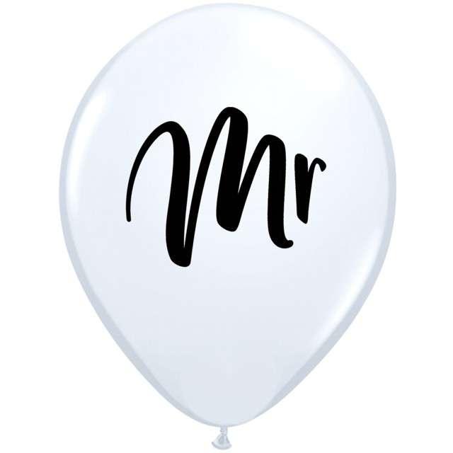 """Balony """"Mr"""", białe, Qualatex, 11"""", 25 szt"""