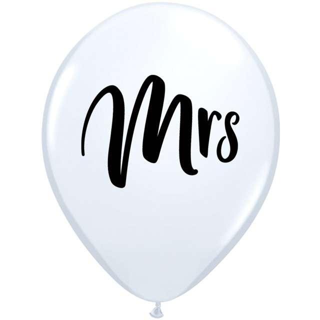 """Balony """"Mrs"""", białe, Qualatex, 11"""", 25 szt"""