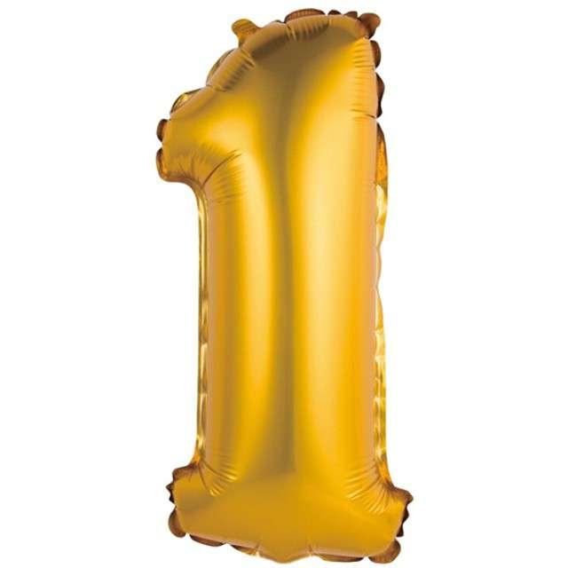 """Balon foliowy """"Cyfra 1 satynowa"""", złota, Godan, 14"""""""