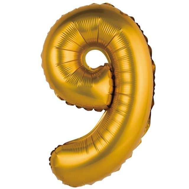 """Balon foliowy """"Cyfra 9 satynowa"""", złota, Godan, 14"""""""