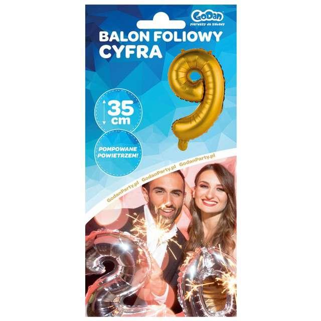 Balon foliowy Cyfra 9 satynowa złota Godan 14