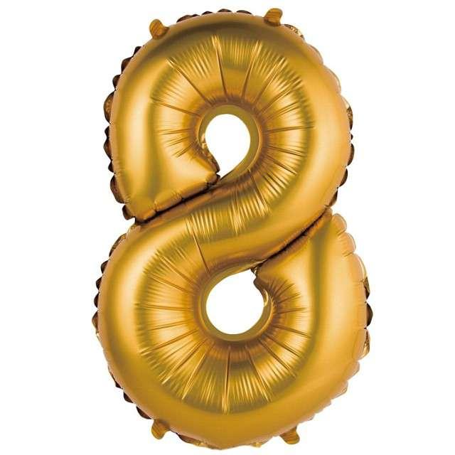 """Balon foliowy """"Cyfra 8 satynowa"""", złota, Godan, 14"""""""