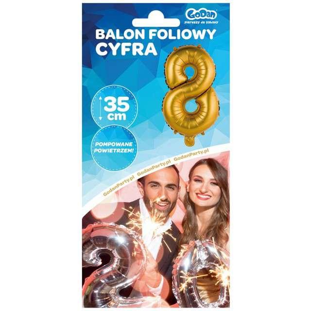 Balon foliowy Cyfra 8 satynowa złota Godan 14
