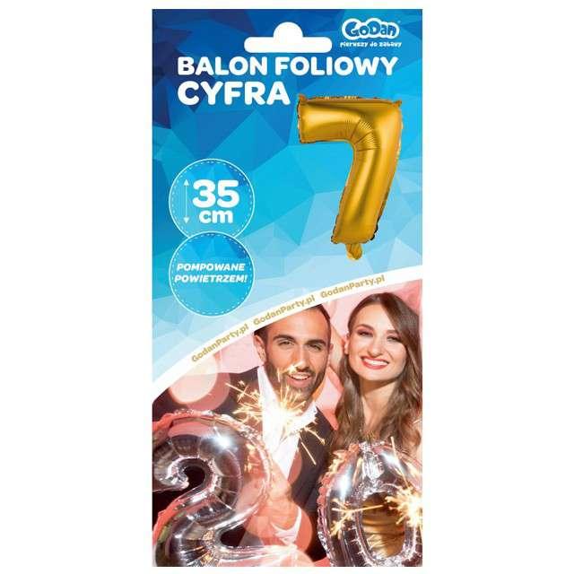 Balon foliowy Cyfra 7 satynowa złota Godan 14