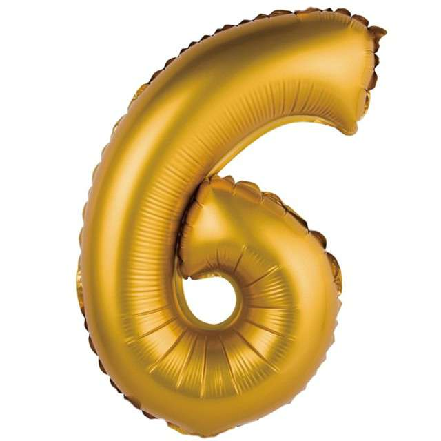 """Balon foliowy """"Cyfra 6 satynowa"""", złota, Godan, 14"""""""