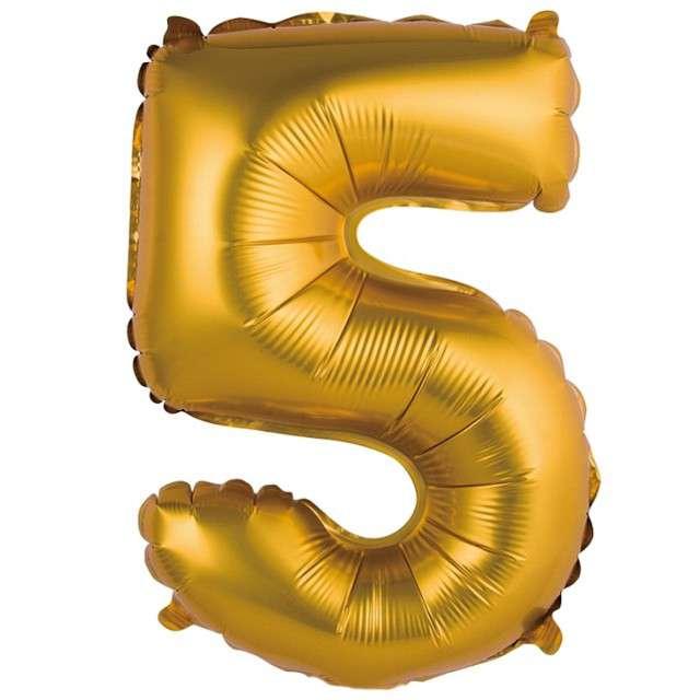 """Balon foliowy """"Cyfra 5 satynowa"""", złota, Godan, 14"""""""