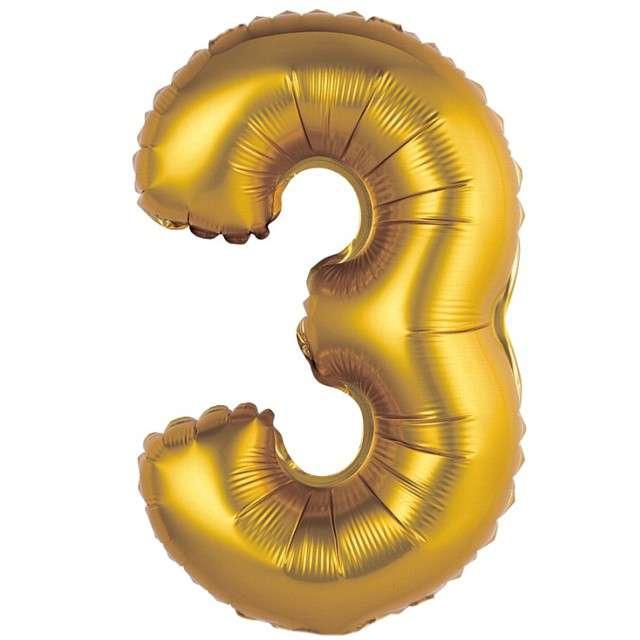 """Balon foliowy """"Cyfra 3 satynowa"""", złota, Godan, 14"""""""