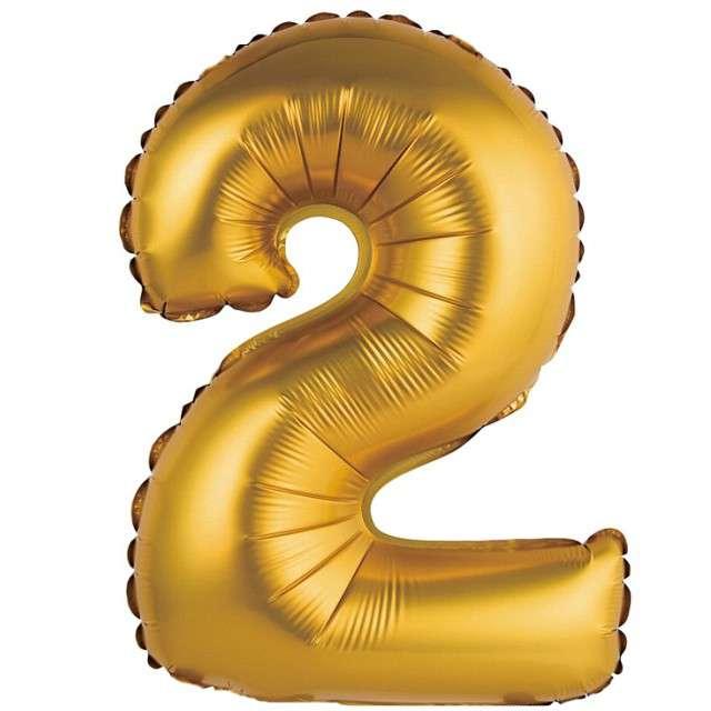 """Balon foliowy """"Cyfra 2 satynowa"""", złota, Godan, 14"""""""