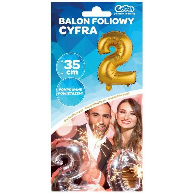 Balon foliowy Cyfra 2 satynowa złota Godan 14