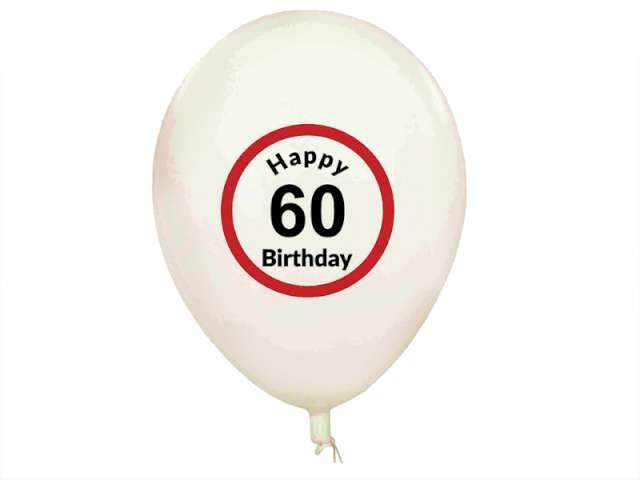 "Balony ""Traffic - Happy Birthday 60"", GadgetMaster, 11"", 5 szt"