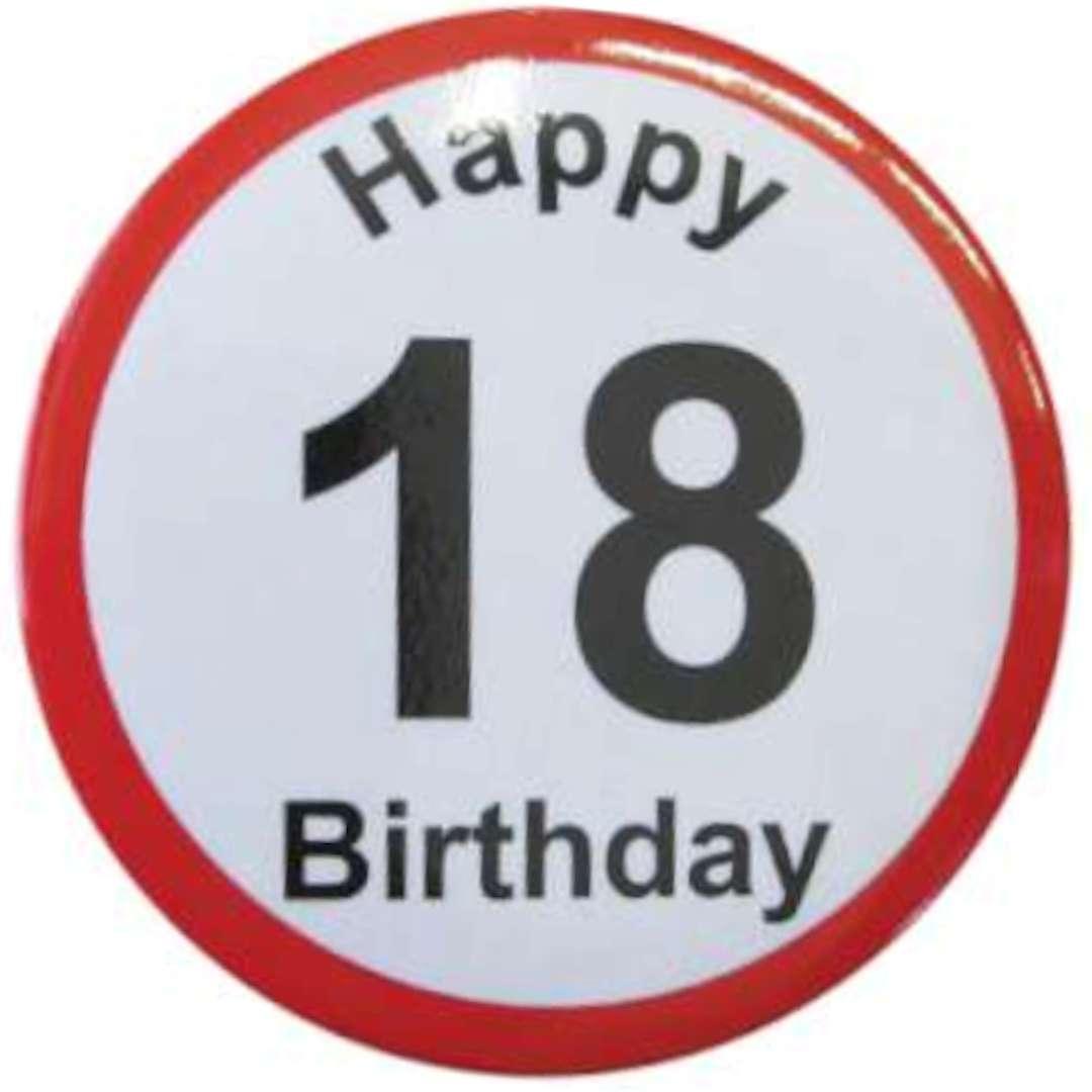 """Przypinka """"Happy Birthday - 18 Urodziny"""", GadgetMaster, 56 mm"""