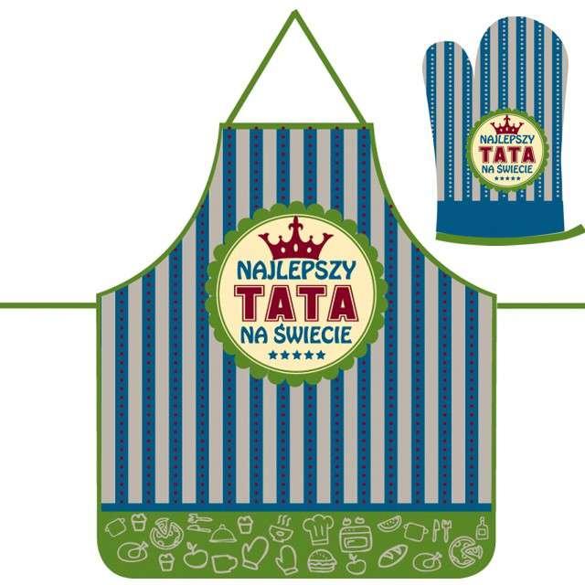"""Fartuch kuchenny """"Najlepszy Tata + rękawica, TopGift"""
