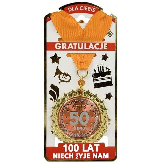 """Naszyjnik """"Medal Jesteś Super - Liczba 50"""", złoty, TopGift"""