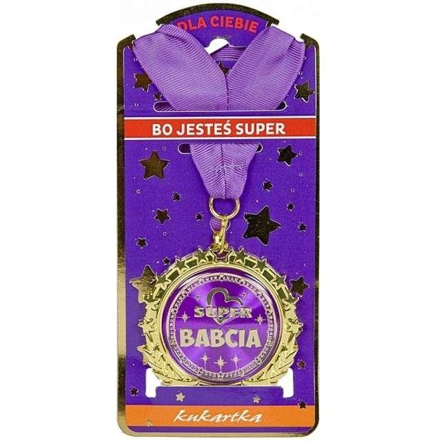 "Naszyjnik ""Medal Super Babcia"", filoletowy, TopGift"