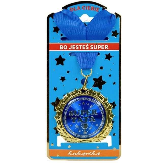 """Naszyjnik """"Medal Super Tata"""", niebieski, TopGift"""