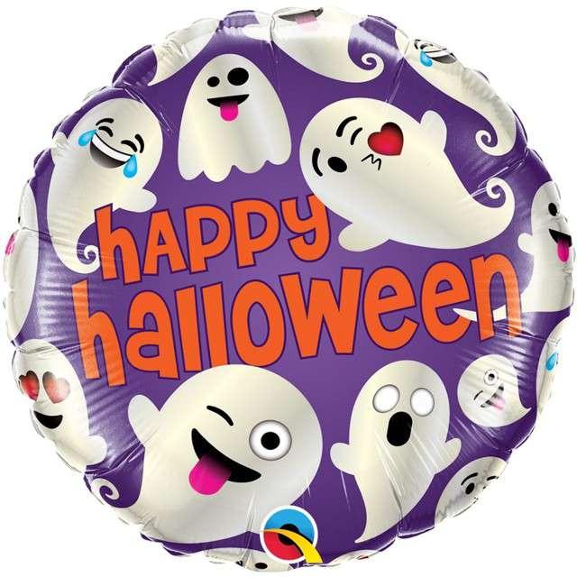 "Balon foliowy ""Halloween emotikony"", Qualatex, 18"" RND"