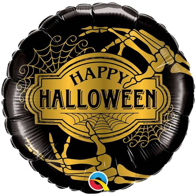 "Balon foliowy ""Happy Halloween"", czarno-złoty, Qualatex, 18"" RND"