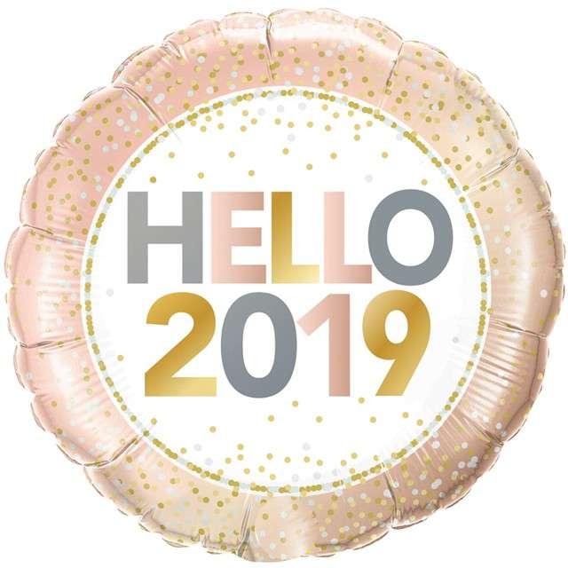 """Balon foliowy """"Hello 2019"""", Qualatex, 18"""", RND"""