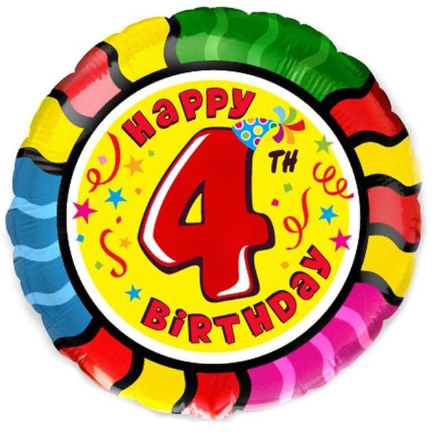 """Balon foliowy """"Happy Birthday - 4 urodziny"""", FLEXMETAL, 18"""" RND"""