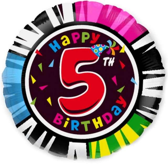 """Balon foliowy """"Happy Birthday - 5 urodziny"""", FLEXMETAL, 18"""" RND"""