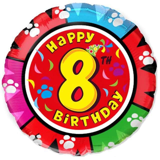 """Balon foliowy """"Happy Birthday - 8 urodziny"""", FLEXMETAL, 18"""" RND"""