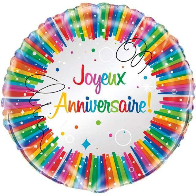 """Balon foliowy """"Joyeux Anniversaire"""", Unique, 18"""", RND"""