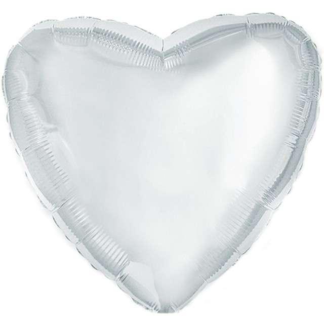 "Balon foliowy ""Serce"", srebrny, FLEXMETAL, 4"" HRT"