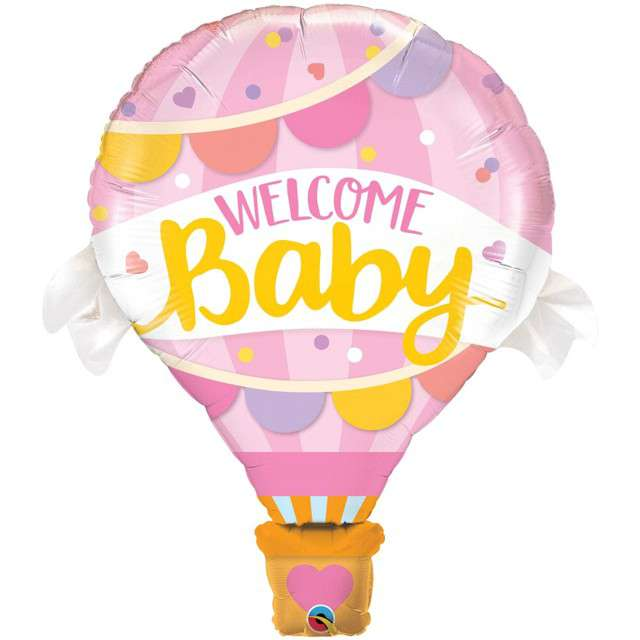 "Balon foliowy ""Baby Shower - Welcome Baby"", różowy, QUALATEX, 42"" SHP"