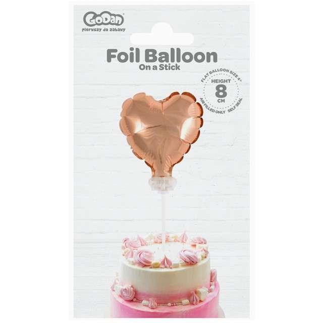 Balon foliowy Serce na patyczku różowe złoto Godan 8 HRT