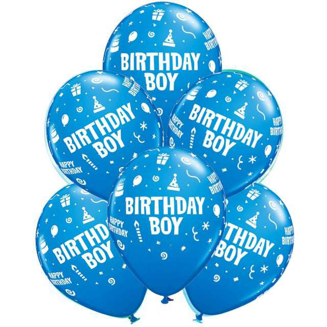 "Balony ""Birthday Boy"", niebieskie, Qualatex, 12"", 6 szt"