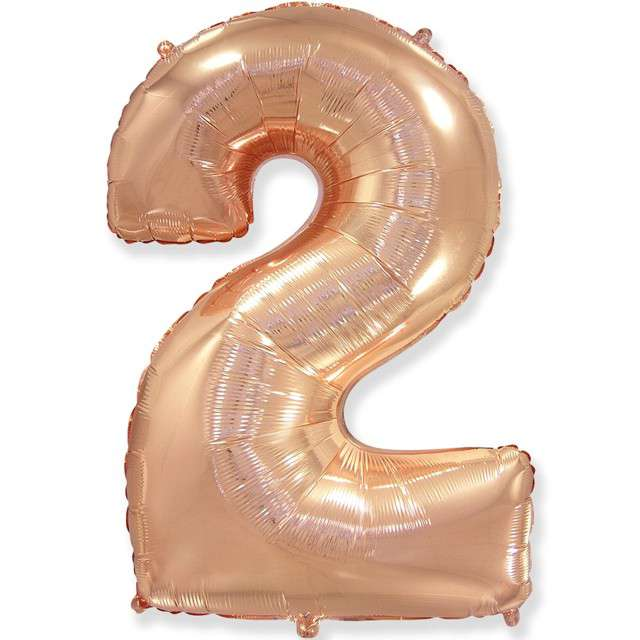 """Balon foliowy """"Cyfra 2"""", różowo-złoty, FLEXMETAL, 33"""""""