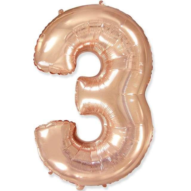 """Balon foliowy """"Cyfra 3"""", różowo-złoty, FLEXMETAL, 33"""""""