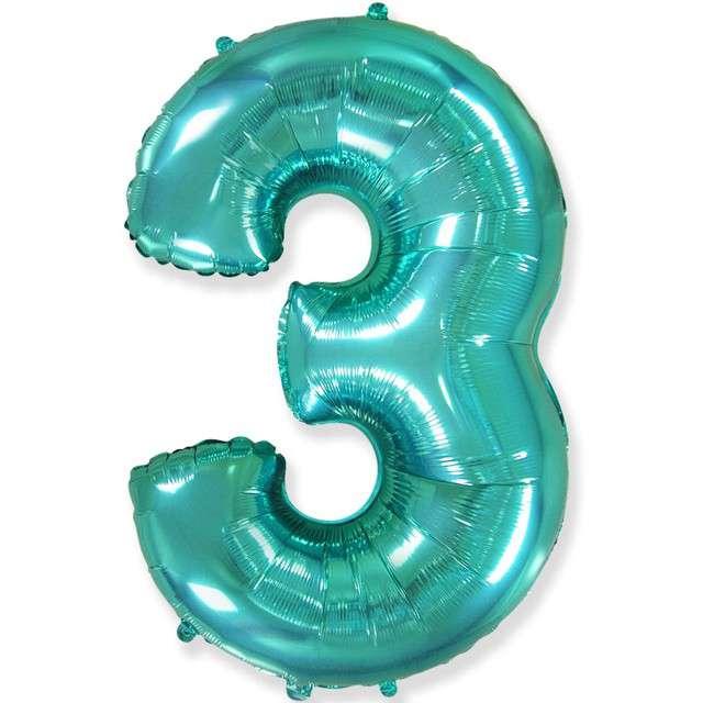 "Balon foliowy ""Cyfra 3"", niebieski tiffany, Flexmetal, 34"", SHP"