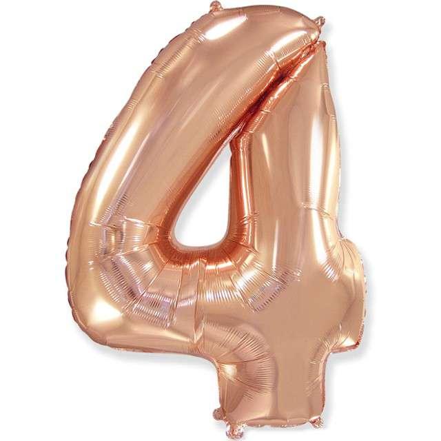 """Balon foliowy """"Cyfra 4"""", różowo-złoty, FLEXMETAL, 33"""""""