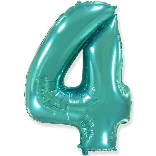 "Balon foliowy ""Cyfra 4"", niebieski tiffany, Flexmetal, 34"", SHP"