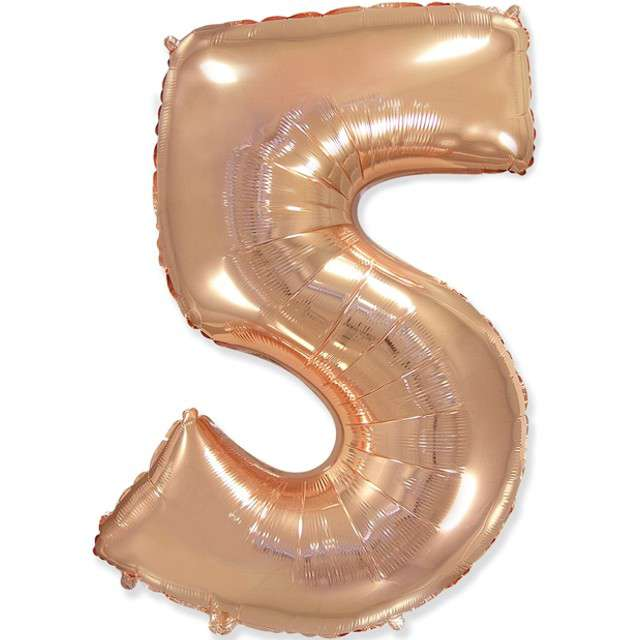 """Balon foliowy """"Cyfra 5"""", różowo-złoty, FLEXMETAL, 33"""""""