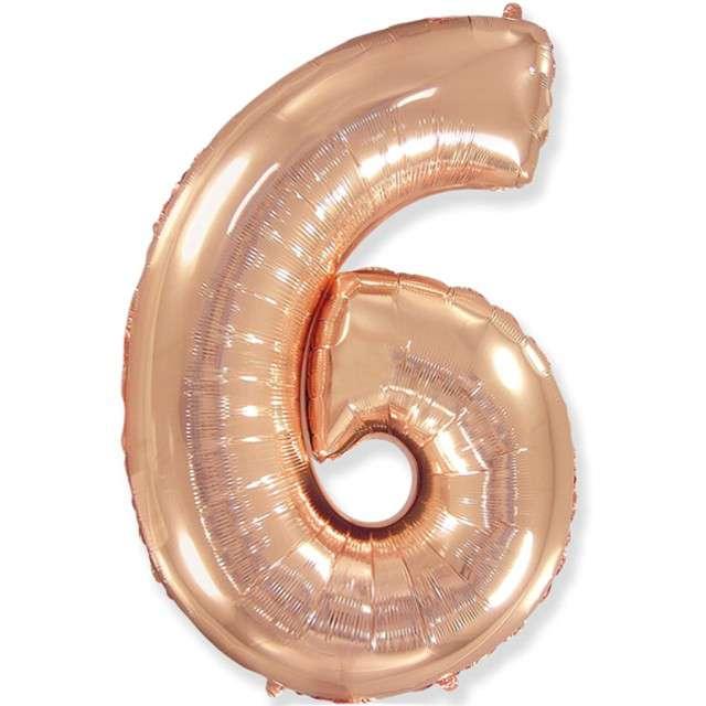 """Balon foliowy """"Cyfra 6"""", różowo-złoty, FLEXMETAL, 34"""""""