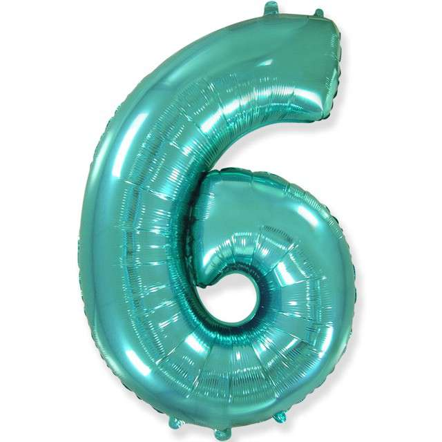 "Balon foliowy ""Cyfra 6"", niebieski tiffany, Flexmetal, 85 cm, SHP"