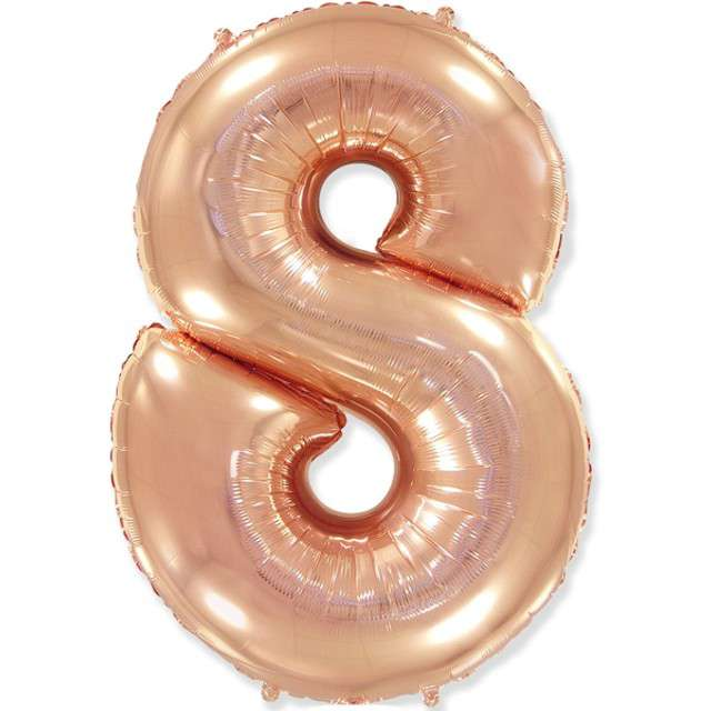 """Balon foliowy """"Cyfra 8"""", różowo-złoty, FLEXMETAL, 33"""""""