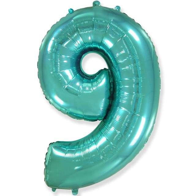 "Balon foliowy ""Cyfra 9"", niebieski tiffany, Flexmetal, 34"", SHP"