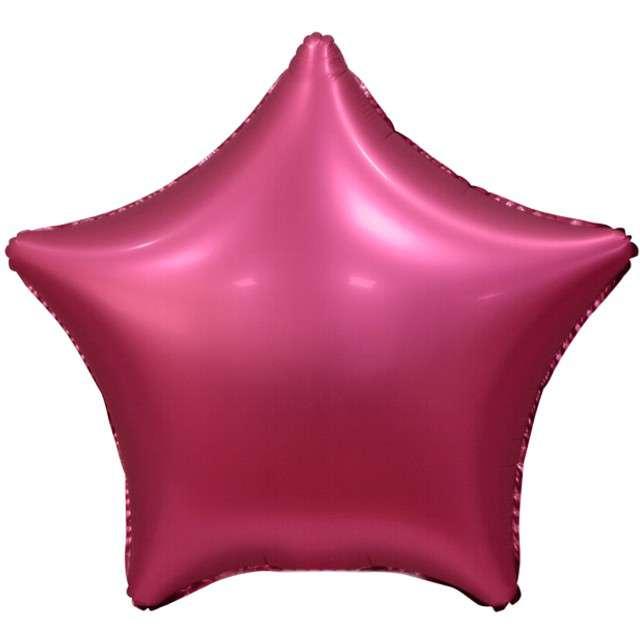 """Balon foliowy """"Gwiazda Matowa"""", różowy ciemny, GoDan, 19"""", STR"""