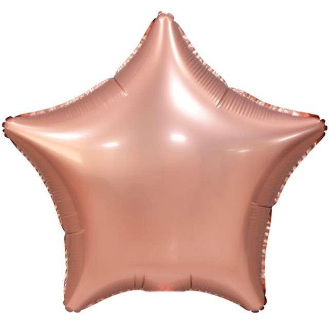 """Balon foliowy """"Gwiazda Matowa"""", różowe złoto, GoDan, 19"""", STR"""